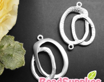 CH-ME-09234 - Nickel Free, silver plated, Big and Small Oval charm, 4 pcs
