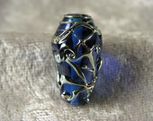 Sky blue and silver glass lampwork glass focal bead - Christine Hansen - Nouveau Series - bicone