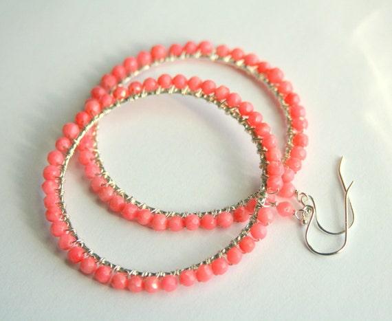 Coral Hoop Earrings, Wire Wrapped Sterling Silver Pink Peach Earrings, Under 50