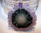 Amethyst Stalactite, sterling silver woven bail, box chain necklace