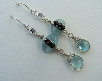 Aquamarine  briolette, nugget  Pyrite, Swarovski crystal sterling silver wrap, French earwire, earrings