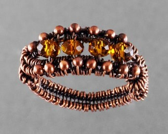 Copper and Amber Glass Ring - Size 8.5 - CLEARANCE