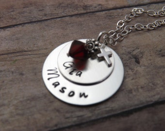 Handstamped-personalized-sterling silver necklace-two layered disc with birthstone-cross