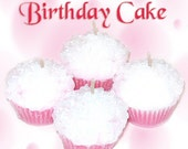 4 Birthday Cake Cupcake Candle Minis Vanilla Scent Pink