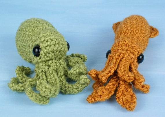 Baby Cephalopods 1 - two amigurumi PDF CROCHET PATTERNS Octopus Squid