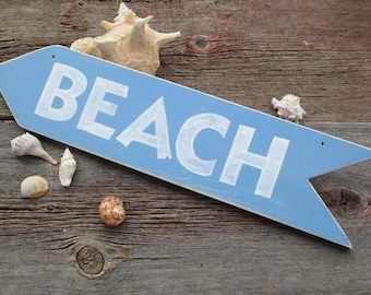Beach Sign light blue with white letters nautical cottage