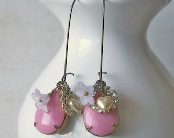 Vintage Dangle Charm Earrings - Celadine in Pink