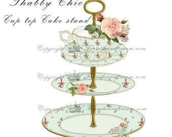 Shabby chic cake stand graphic in pretty sea-foam green instant download
