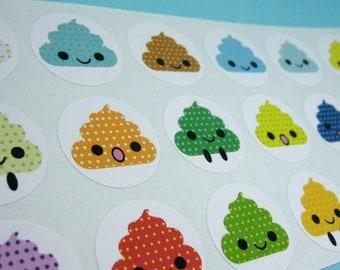 POOP stickers set of 21 polka dotted poops