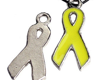 19mm Yellow Hope Awareness Ribbon Charms -4 Pieces - 4001