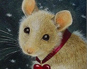 Valentine Mouse From Small Original Animal Art Painting Bookmark Melody Lea Lamb