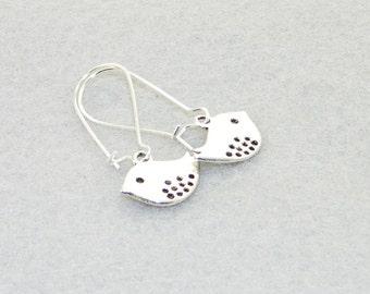 Cute silver bird charm dangle earrings