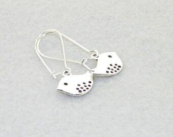 Cute silver bird charm dangle earrings, Sparrows, Nature earrings, Flower girls, Bride, Wedding, Love birds, Gift for her, Whimsical Jewelry