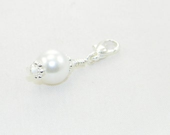 Best Seller - Handmade glass pearl lobster claw charm, clip on charm, purse charm, backpack charm, zipper pull - Made to order
