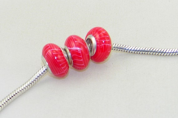 CLEARANCE - Red and pink polymer clay bead for European charm bracelet