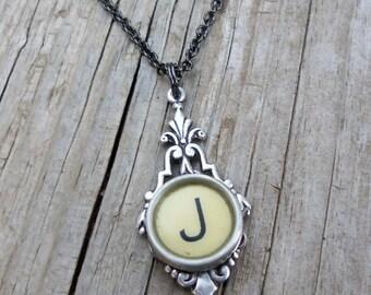Letter J  Vintage Typewriter Key  Drop Necklace