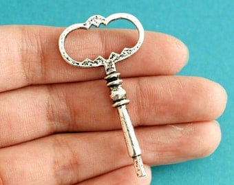Sale Lead Free 4pcs Big Antique Silver Key Pendants A18866-AS-LF