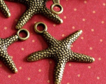 Lead Free 100pcs Antique Bronze Finish Alloy Starfish Sea Star Charms