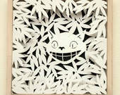 SALE - Paper Cutting Art, The Cheshire Cat