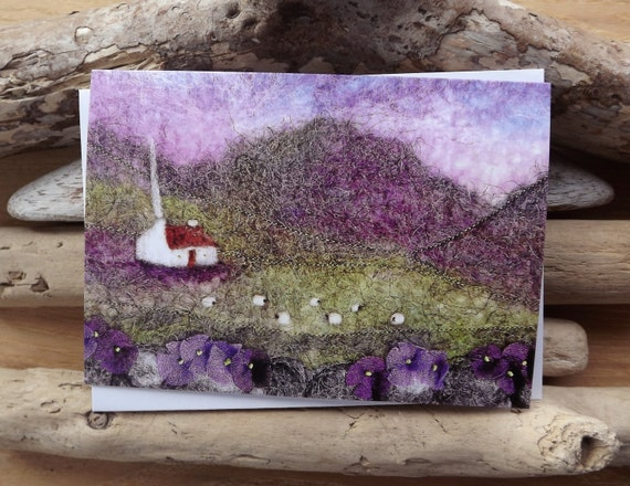 Purple Hills, Cottage and Sheep Printed Greetings Card