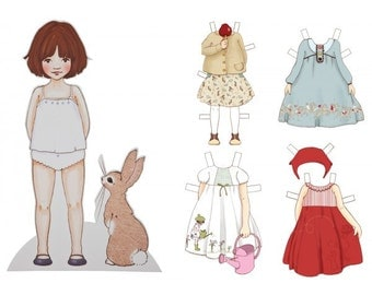 Dress up doll, paper doll, bunny, paper rabbit, vintage illustration, vintage dress up doll, Large Dress Up Belle