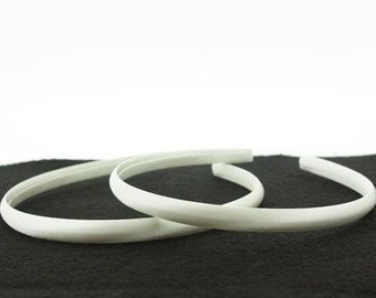 10mm Satin Covered Headbands in WHITE - 6 pieces