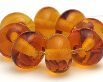 Handmade Lampwork Spacer Bead Set Amber Topaz Transparent SRA