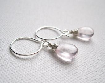 Rose Quartz Briolettes & Sterling Silver Earrings - UK Seller
