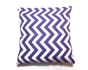 Lynne's Bargain Basement Decorative Pillow Cover Purple White Chevron Zig Zag Design Toss Throw Accent 16 x 16 inch Same Fabric Front Back