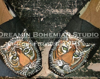 Painted Toms Shoes, Custom Tiger Flats, Boho Painted Slip-ons, Asian Jungle Animal, College Mascot, Crystal Bling, Gift for Student or Fans