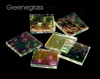 Clear Rainwater Iridized Glass for Mosaics and Stained Glass - Med Pack - Diamond, Triangles, Rectangles, Squares, Strips
