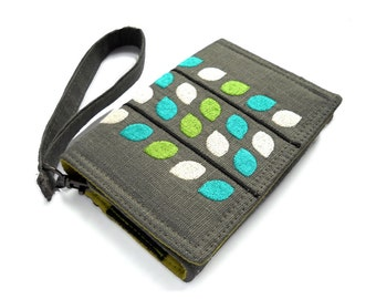 MADE TO ORDER | iPhone wallet | Smart phone case | Wallet for smartphones |Reaching Leaves embroidered wallet | Green and Teal wallet