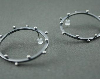 sterling silver oval polka-dot earrings