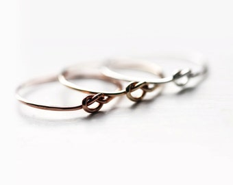 Friendship knot rings - 3 knot rings in sterling silver and gold filled