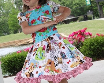 Girls dress  Paris Eiffel Tower Twirl skirt and t-shirt size 12 months to 12 yrs - Summer in Paris