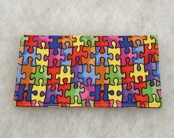 Checkbook Cover - Puzzle pieces
