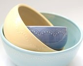 MADE TO ORDER - Set of 3 - Nesting Bowls -  Unmatchy