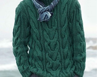 On  SALE   Men's Sweater   Hand Knit With Cable pattern Fisherman's sweater  Made to order