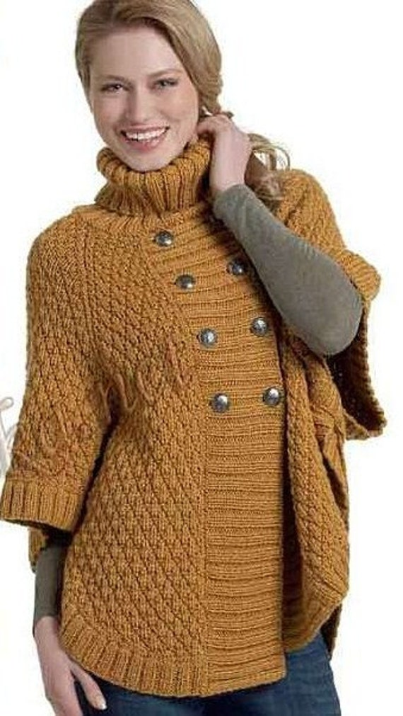 Knitting Pattern For Poncho With Sleeves : Items similar to Hand Knit Turtleneck Poncho with sleeves ...