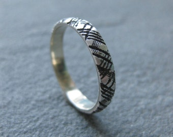 Thinnest PLAID sterling silver 3mm ring size 6.25