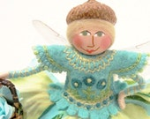 Flower Fairy Art Doll With Basket of Roses, Hand Embroidered