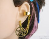 Pagan Wicca Pentagram Jewelry, Lobe to Cartilage Double Chain Earring - Gold Star Ear Cuff