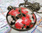 Glorious Flowers RED and BLACK with GOLD Origami Paper Under Glass Handmade Pendant With Matching Necklace Chain