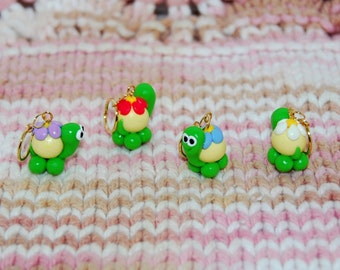 Cute Turtle knitting or crochet stitch markers - Set of 4 - polymer clay