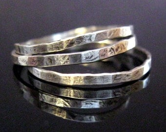 sterling silver skinny stacking rings - Set of three (3)