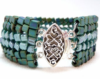 ON SALE -  Emerald Isle Beadwoven Cube Bead Bracelet - Cubic Meter Collection