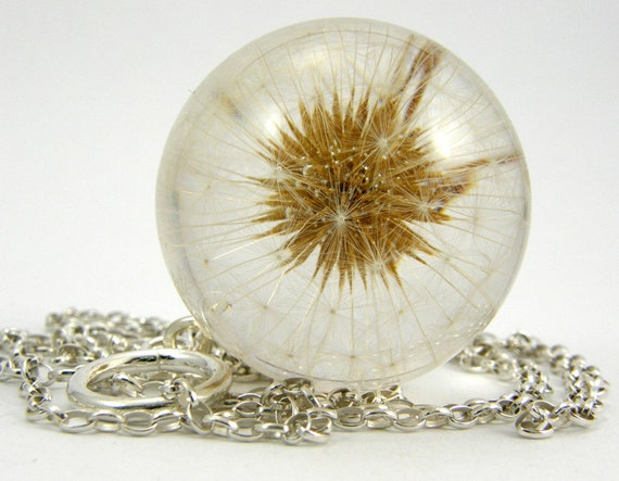Dandelion Season Has Started, Large Resin Round with Full Dandelion and Sterling Silver Chain, Dandelion Pendant