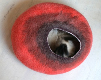 Cat Nap Cocoon / Cave / Bed / House / Vessel - Hand Felted Wool - Crisp Contemporary Design - READY TO SHIP Maroon Orange