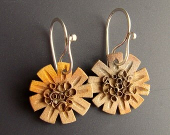 Hand Carved Bronze Flower Pierced Earrings with Sterling Silver Earwires