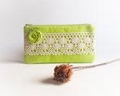Rustic Wedding Lace Clutch Purse, Bridesmaid Gift Idea, Neon Green Kiwi Rosette Lace